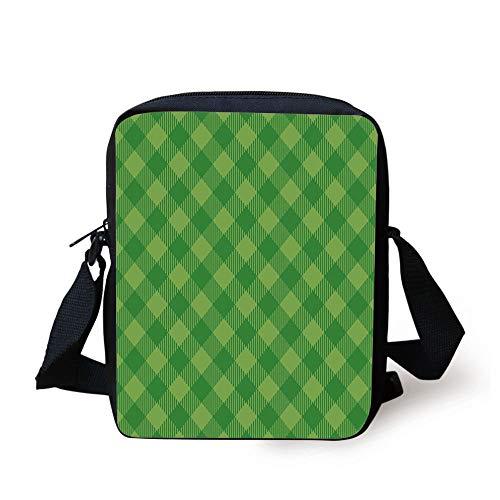 Irish,Retro Pattern in Vivid Green Cultural Fashionable Checkered Traditional Tile,Green Lime Green Print Kids Crossbody Messenger Bag Purse -