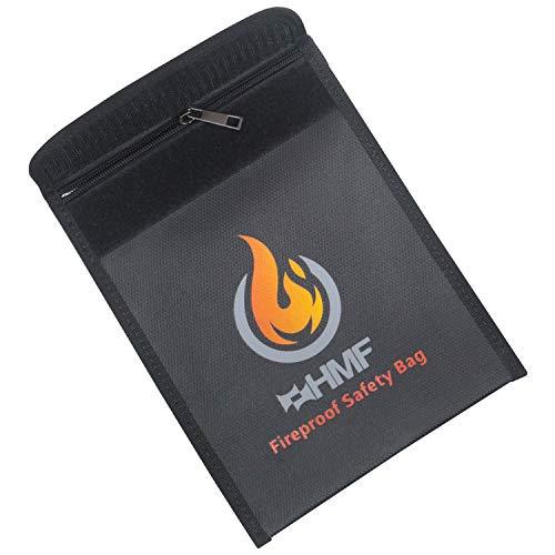 HMF 44145 Feuerfeste Dokumententasche DIN A5 | Wasserdicht | Reißverschluss | 23 x 18 cm