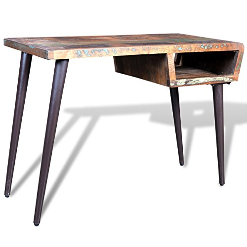 Antike Massivholz (vidaXL Teak Massivholz Schreibtisch Bürotisch Wandtisch Konsole Antik Vintage)