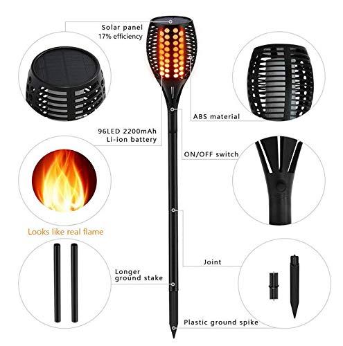 JKYQ Solar Torch Light wasserdichte Outdoor Flickering Flames Taschenlampe Beleuchtung automatisch aus/an Dämmerung bis Morgendämmerung für Garden Pathway Einfahrt,1pack -