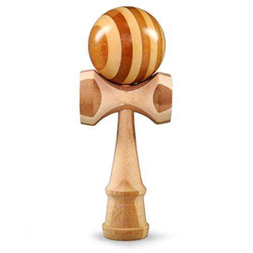 Kendama aus echtem Bambusholz, Model 'nature' das Original aus Japan, traditionelles Holzspielzeug, trainiert effektiv Geschicklichkeit und Koordination, edle Lackierung, Kugel 6 cm Durchmesser, Farbe naturbelassen mit lackierter Kugel, oberflächenlackiert, Kugelspiel, Kugelfangspiel, Geschicklichkeitsspiel - Marke Ganzoo