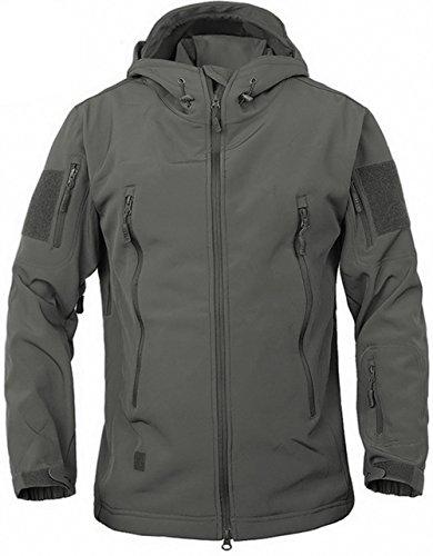 TACVASEN Tactical Military Waterproof Softshell Jacket Camouflage Hood Combat Coat for hiking,camping,climbing,hunting,fishing,travel GreyGray