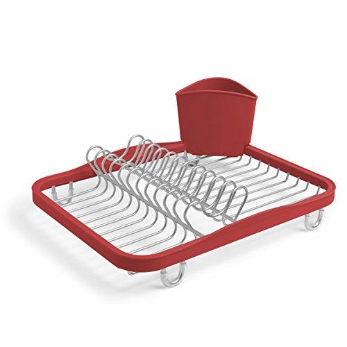 Umbra Sinkin Abtropfgestell aus Metall mit Abnehmbarem Besteckkorb – Passt in Spülbecken oder auf Arbeitsfläche, Kompakt und Handlich, Rot/Nickel (Arbeitsfläche Abnehmbare)