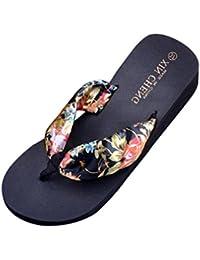 Chanclas mujer, ❤️Amlaiworld Sandalias florales de playa de Bohemia Chanclas de verano para mujer Zapatillas Flip Flops Sandalias planas (38, Negro)