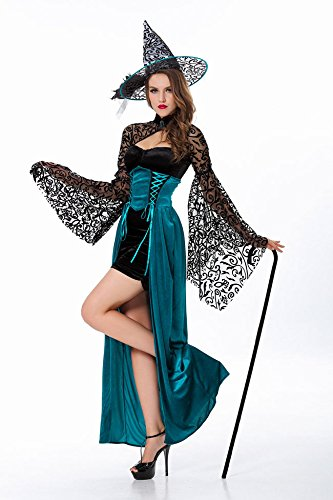 Simmia Halloween Kostüm,Halloween Hexe Kostüm Märchen Weibliche Zauberer Slim Nightclub Party, 5905, - Zauberer Kostüm Weiblich