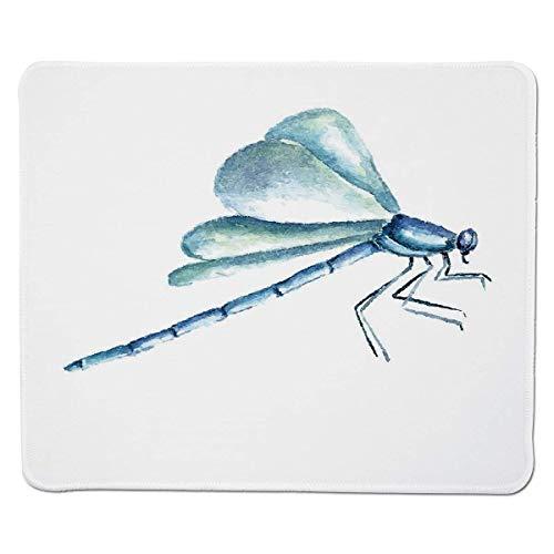 Yanteng Gaming Mouse Pad Libelle, Hand gezeichnete Aquarell-Libellen-Figur mit schmutzigen Einflüssen beeinflußt Bild dekorativ, hellblauer weißer genähter Rand
