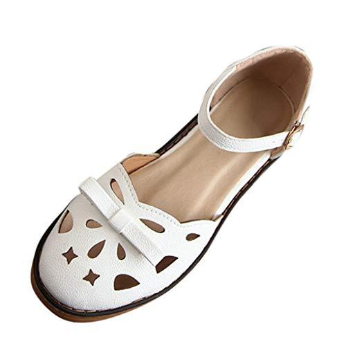 Mitlfuny Damen Sommer Sandalen Bohemian Flach Sandaletten Sommer Strand Schuhe,Damen Sandalen im Sommer einfarbig hohl mit Mode Damen ()
