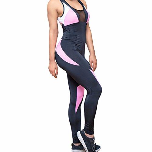 teiler ärmellos Yoga Tight Workout Strampelanzug Running Fitness Jumpsuit XL Black & Rose Red (Schwarzer Strampelanzug Frauen)