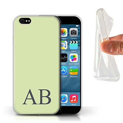 Personalisiert Pastell Monogramm Gel/TPU Hülle für Apple iPhone 6 / Blaues Design / Initiale/Name/Text Schutzhülle/Case/Etui Grünes
