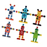 Fliyeong 6 stücke Holz Nussbaum Fingerpuppen Puppe Roboter Flexible Gelenke Spielzeug Set Baby...
