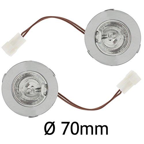 20 Zwei-licht (spares2go Dunstabzugshaube t1250 rund, chrom Spot Licht (2 Stück, Durchmesser: 70 mm, 20 Watt 12, Volts))