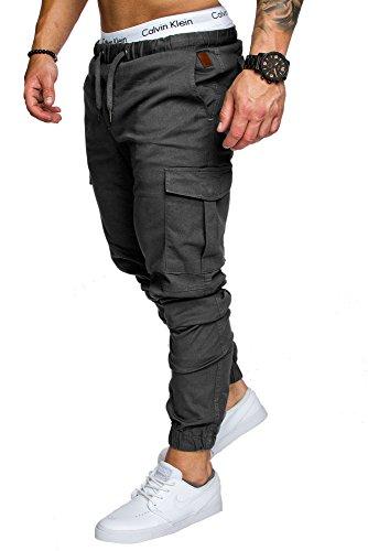 Amaci&Sons Jogger Cargo Herren Chino Jeans Hose 7001 (W32, Anthrazit)