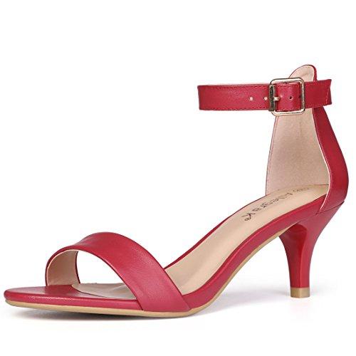 Allegra K Damen Offen Zehe Kitten Ansatz Knöchelriemen Sandalen Gurt Sandalette Rot 39 EU/Label Size 8.5 US -