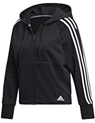 adidas Women's Must Haves 3-Stripes Full-Zip Hoodie, Felpa con Cappuccio Donna, Nero, M 44-46