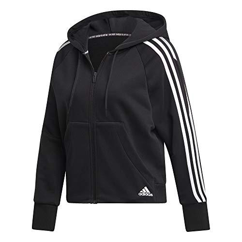 adidas Damen W MH 3S FZ HD Sweatshirt, Black, L