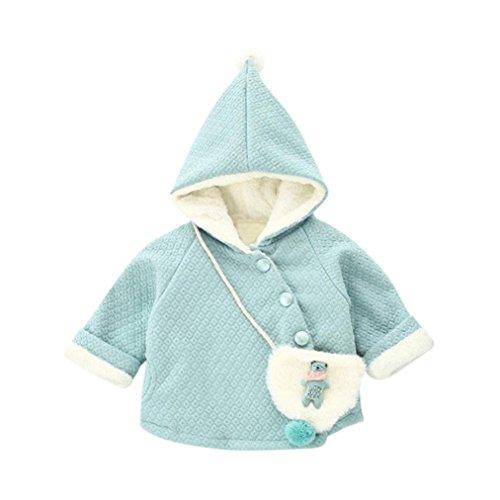 Baby Mädchen Kapuzenmantel, Lenfesh Kinder Nette Ball Winter Warmer Mantel + Kleine Tasche (Blau, 11/ 24M) (Mädchen Kleine Trenchcoat)