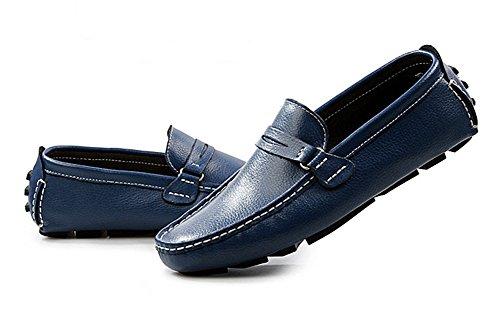 Aisun Homme Mode Conduite Chaussure Bateau Slip On Mocassins Bleu
