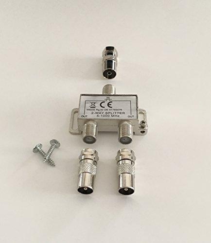 2-fach TV-Verteiler Weiche Zweifachverteiler für DVB-T und Kabelfernsehen inkl. Adapter für Koaxstecker/-buchse -
