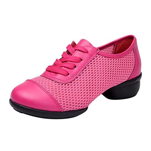 Yvelands Damen Tanzschuhe Mesh-Schuhe aus weichem Mesh mit Schnürung Damen-Single-SchuheHot Pink41