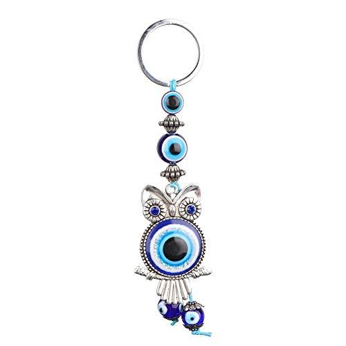 Hztyyier Blue Evil Eye Owl Keychain Schlüsselanhänger Wandbehang Ornament Türkisches Glas Amulett Charm Anhänger Segen Geschenk -