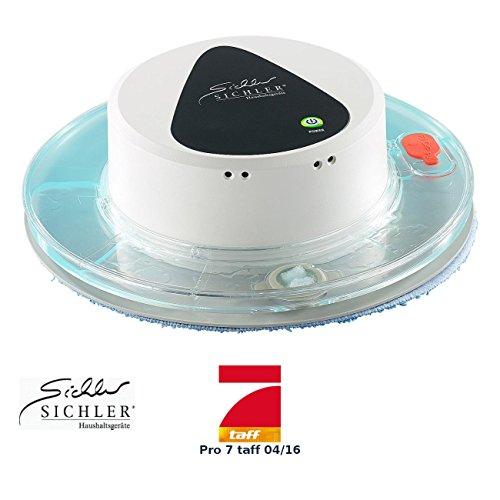 Roboter Bodenreiniger (Sichler Haushaltsgeräte Nasswischroboter: Boden-Wisch-Roboter PCR-1130 für Nass- und Trockenreinigung (Robot Mop))