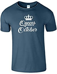 Queens Are Born In October Pour gamins Anniversaire Tshirt