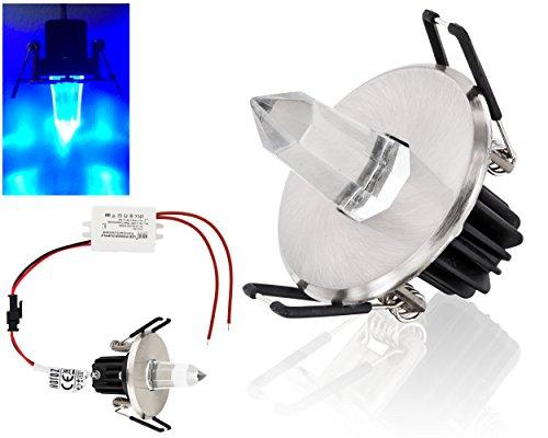 LED Einbaustrahler Sternenhimmel - Edelstahl-Gehäuse in chrom-matt - Lichtaustritt aus Kristall - incl. LED Trafo - Lichtfarbe blau