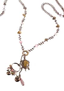 """Pink Desert"" Collection Irresistible Chain with Turtle Pendant Created by Amaro Jewelry Studio Decorated with Rose Quratz, Rhodonite, Tiger's Eye, Abalone, River Stone, Coral Salmon, Jasper Desert and Swarovski Crystals"