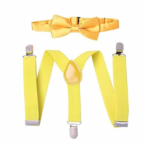 FEESHOW Ensemble de Bretelles Elastiques Enfant Fille Garçon et Noeud Papillon Réglables de Couleur Pure pour Pantalon Chemise Jaune Taille unique