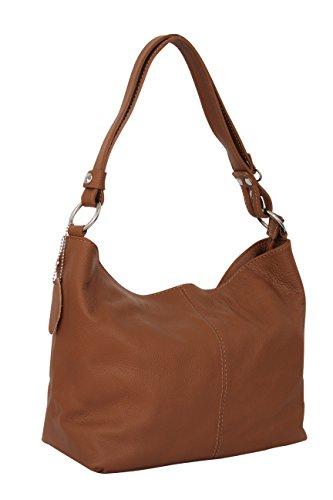 AMBRA Moda Damen Leder Handtasche Schultertasche Umhängetasche Hobo bag GL005 (Cognac)