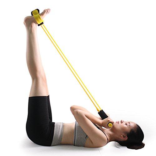 carejoy Universal Home Fitness Equipment Skulptur Bauch Trainer Fuß Pedal Expander Elastic Pull Seil Bauch Taille Arm Bein Bauch Dehnen Slimming Yoga Crunches (Expander Taille)