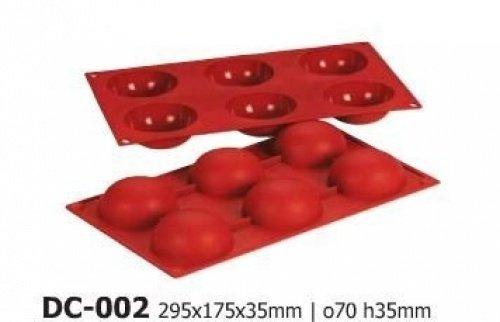 Silicone-Bakeware® Moules à gâteau en Silicone, Demi-Cercles Anti-adhésifs, 6 cavités, Rouge/Marron, 29,5 x 17,5 x 3,5 cm