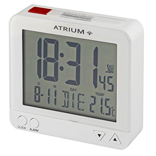 Atrium digitaler Funk-Wecker LCD sensorgesteuerte Nachtlicht-Funktion Schlummer-Funktion Obenabsteller Reise-Wecker weiß/rot A740-0