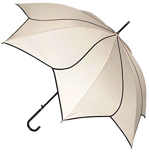Unbekannt XL Regenschirm - AUTOMATIK -  3-D Effekt _ Blume & Blüte / Wirbel - beige / Creme / Ecru...