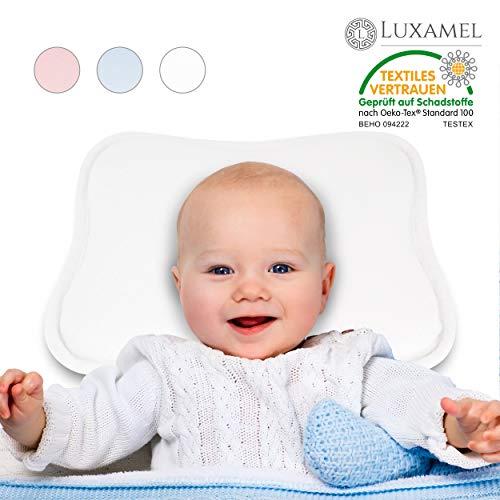 Luxamel | Orthopädisches Babykissen | Ergonomisches gegen Plattkopf und Verformung | Für Säuglinge und Kleinkinder | 100{44c68a0f18ab20fb1ffd80a27d2ad2c21d35126deccd1c2ab15193bb3ca51c68} Schadstofffrei | Weiß