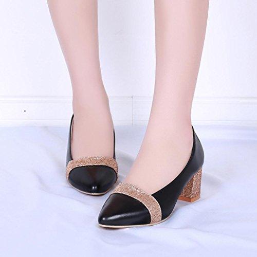Longra Primavera moda donna pelle artificiale semplice tacco spesso scarpe nude basse scarpe da lavoro Nero