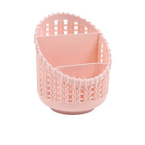 Aufsatz- Makeup Organizer - Makeup Storage Basket Kunststoff Kosmetik-Halter für Badezimmer-Eitelkeit Dresser Desktop Storage Box für Schule Office Home, rosa -