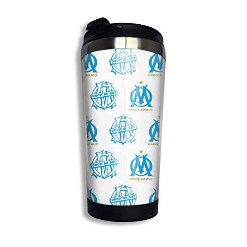 Emmapont Olympique De Marseille Mug Isotherme Acier Inoxydable 400 ML | Tasse à Café Double-paroi Isolée sous-Vide, Thermos De Voyage Réutilisable Thé, Café