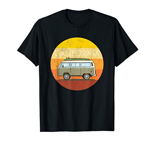 California Santa Cruz Bulli Van Surf Retro 70s T-Shirt (Santa-t-shirt)