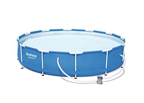 Bestway Steel PRO Pool mit Pumpe, Filter und Kartusche, 6473 Liter, Weiß, 366 x 366 x 76 cm
