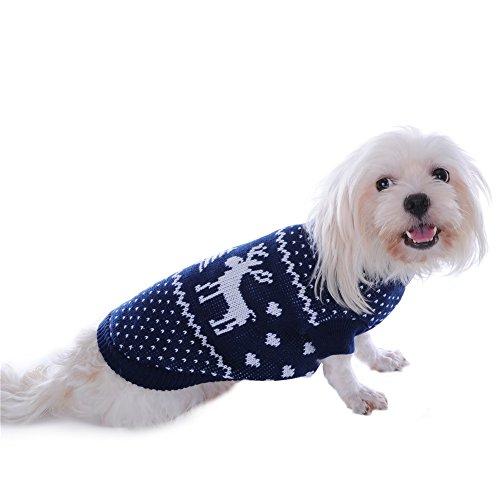molie Haustier Hund Weihnachten Pullover Bekleidung (L, Blue) - 5