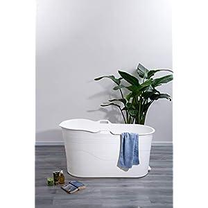 Mobile Badewanne für Erwachsene XL, Ideal für das kleines Badezimmer, 123 * 51 * 63cm, Stylisch und Stimmungsvoll (Weiß)