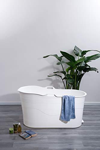 Schwänlein® Mobile Badewanne für Erwachsene XL, Ideal für das kleines Badezimmer, 123 * 51 * 63cm, Stylisch und Stimmungsvoll (Weiß)