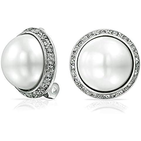 Bling Jewelry Pave cristallo d'argento di tono Bianco cupola della perla di Faux Clip On Orecchini