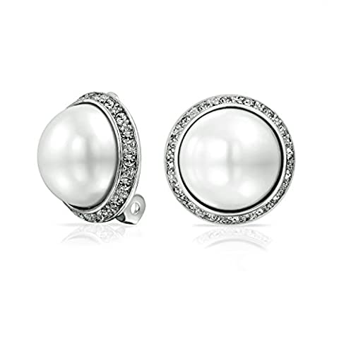 Crystal White Simulated Pearl Clip On Earring Rhodium Plated