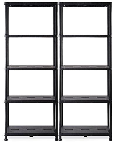 Ondis24 Regal, Lagerregal, 71 x 35 x 180 (H) cm, Steckregal, Kunststoffregal, 15 Zoll Schwerlastregal, bis zu 180 kg belastbar - Doppelpack