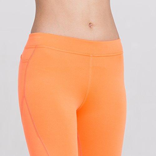 Damen-Kompressions-Leggings Base Layer Strumpfhosen Orange