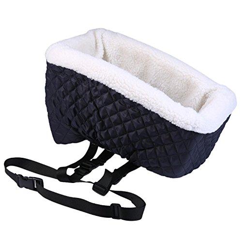 AOLVO klein Sitzerhöhung, komfortables Haustier Auto Konsole Kleiner Hund Lookout Soft Travel Auto Sitz mit Sicherheitsgurt, bis zu 8Pfund (4kg) (Royal Blau) (Mittelkonsole Kleine)