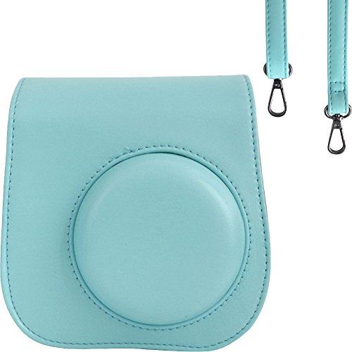 Tasche/ Fall für Fujifilm Instax Mini 9/8 / 8+ Instant Film Kamera Ice Blue. Vintage Compact Schutztasche. Mit verstellbarem Schultergurt & Tasche. Von SAIKA Fuji Kamera-blau