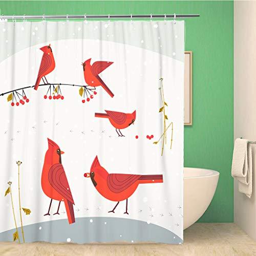 Awowee Decor Duschvorhang, rote nordische Kardinalvögel auf Schnee, niedlich, flach, Cartoon-Motiv, 180 x 180 cm, Polyester, wasserfest, mit Haken für das Badezimmer (Hinterhof Für Kinder Vogelbeobachtung)